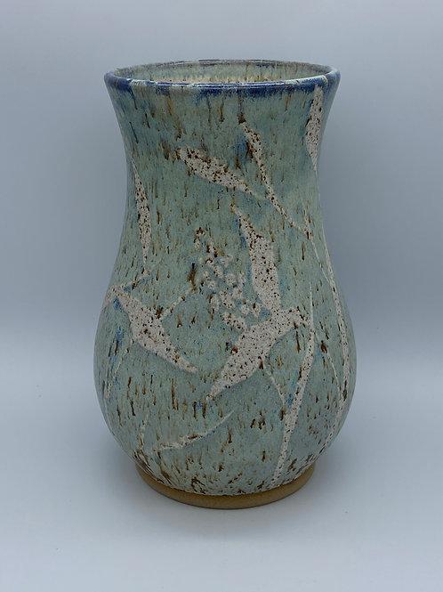 Capri blue round leaf vase