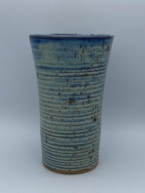 Capri blue ridged vase