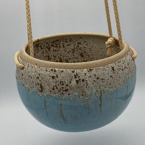 Large norse blue drip round hanging planter
