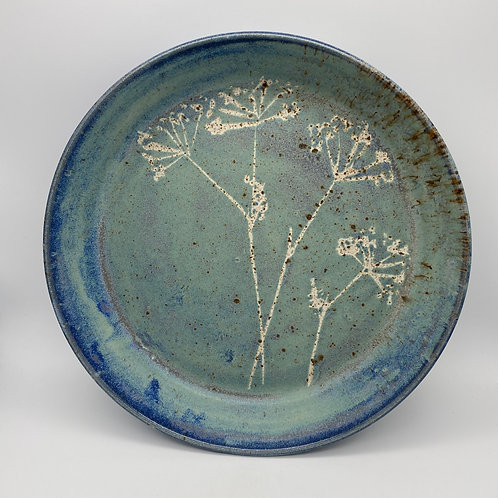 Capri blue cowslip round serving tray