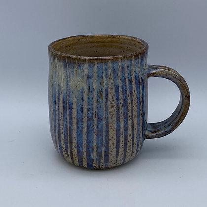 Denim blue stripy mug