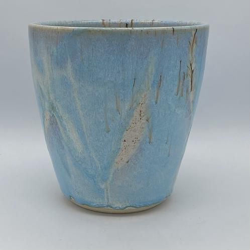 Blue leaf vase