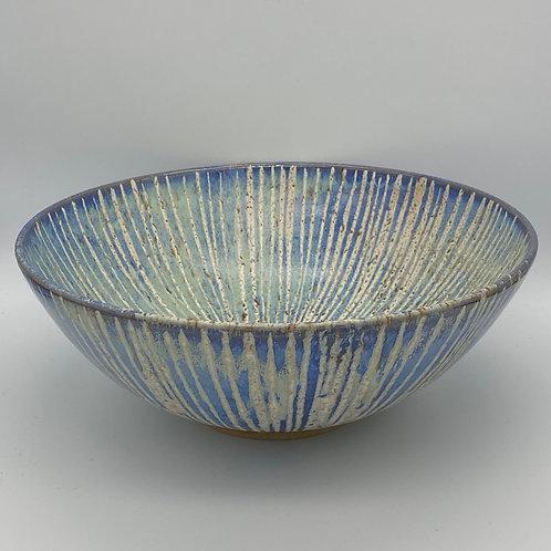 Large capri blue stripe bowl