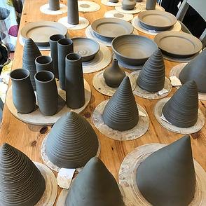 Hangers and vases in progress
