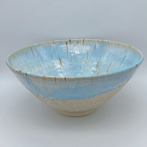 Large norse blue bowl with drip glaze