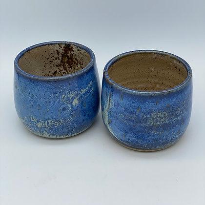 Capri blue pair of wee dram cups