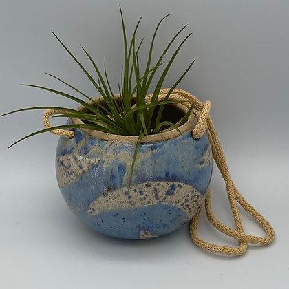 Denim blue round hanging planter