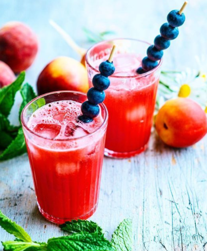 Watermelon Juice with Berry Skewers