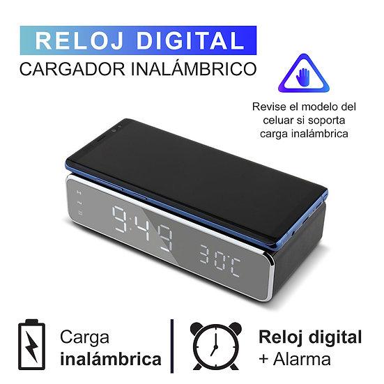 Cargador Inalámbrico De Smartphone + Reloj Digital