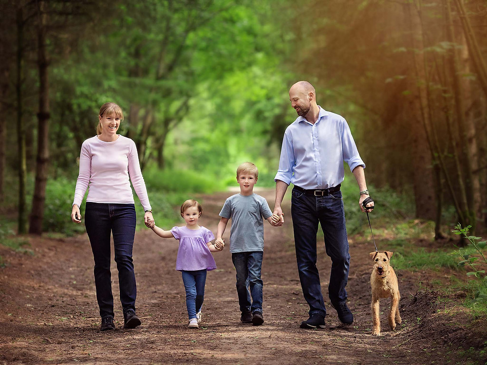 Mum, Dad, kids and dog enjoying their outdoor photography session with Fairy Nuff Photography, Nottingham