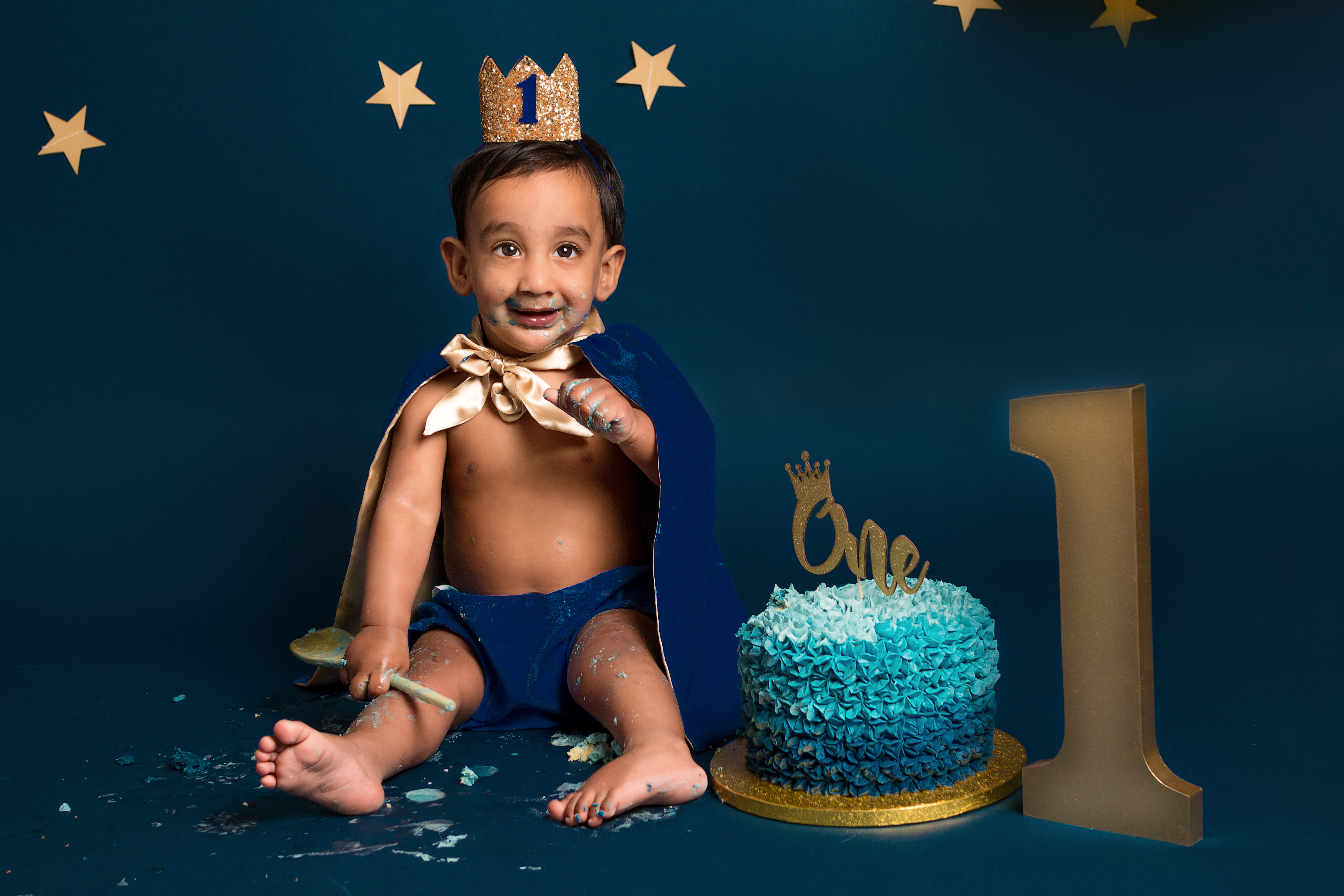 Blue and gold Prince themed 1st Birthday photography session