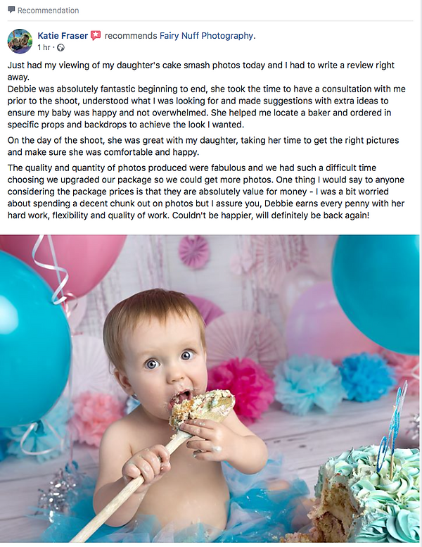 5 star client review for a baby girl's pink andturquise cake smash and first birthday photography session, by Fairy Nuff Photography, child photographer, Nottingham