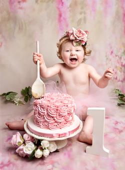 pink girls cake smash photography sessio