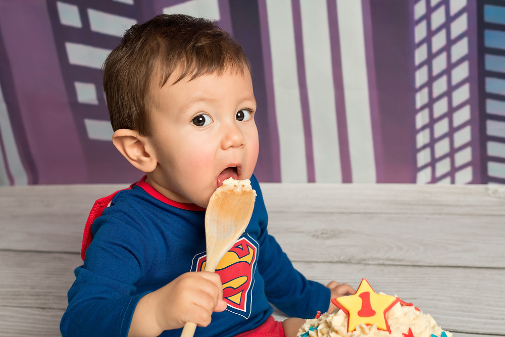 Superman cake smash, Fairy Nuff Photography.  Child photography Nottingham