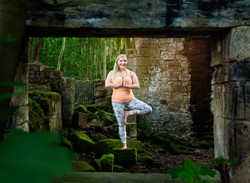 Tree pose, forest yoga business branding photography