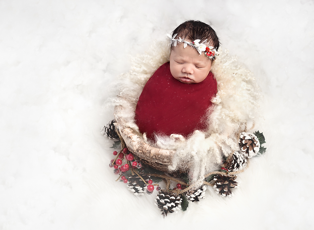 baby swaddled and posed in a christmas theme prop