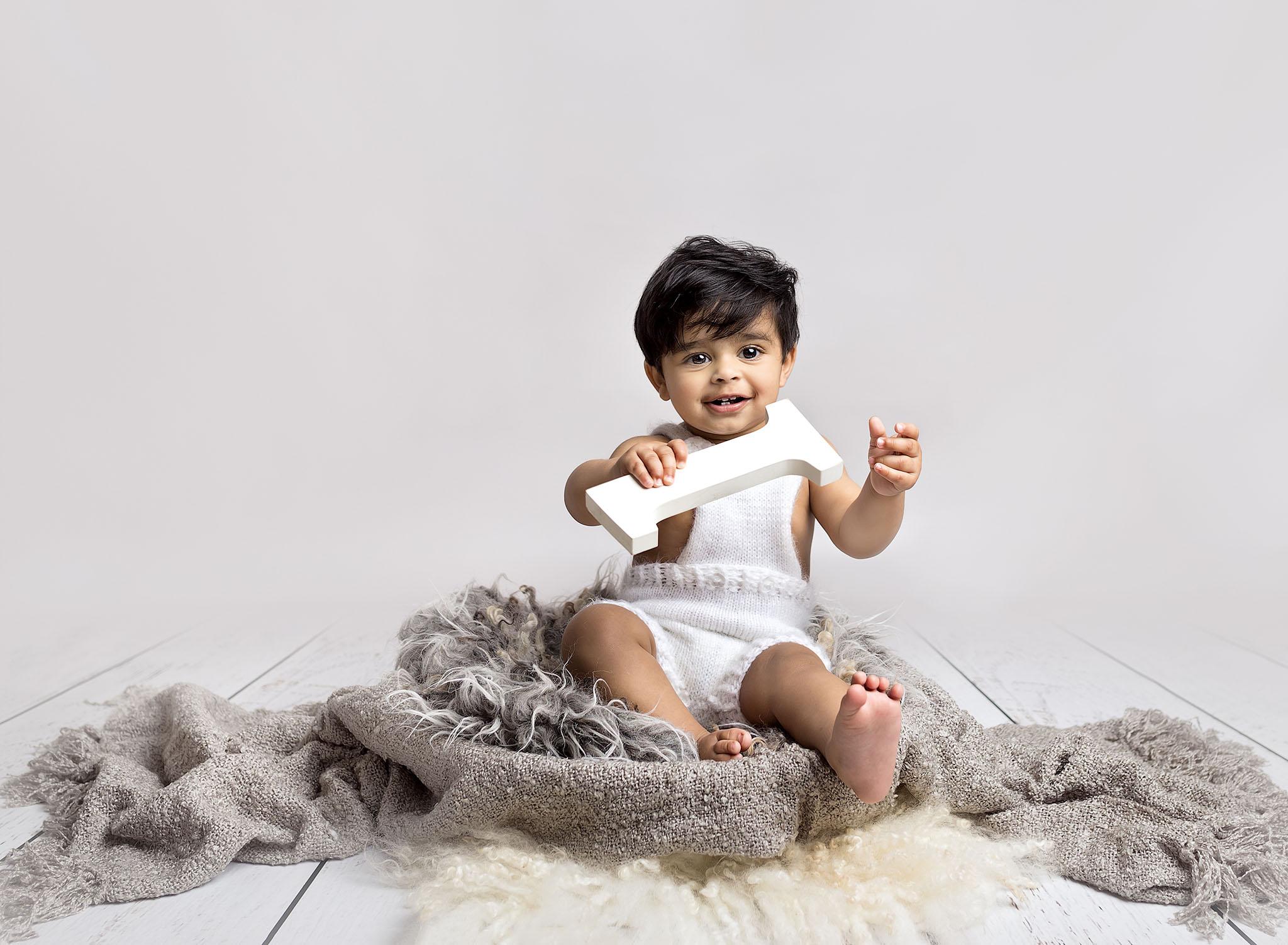 White and grey theme child first Birthday photos