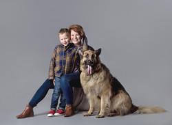 Mum, Son and dog studio photograph