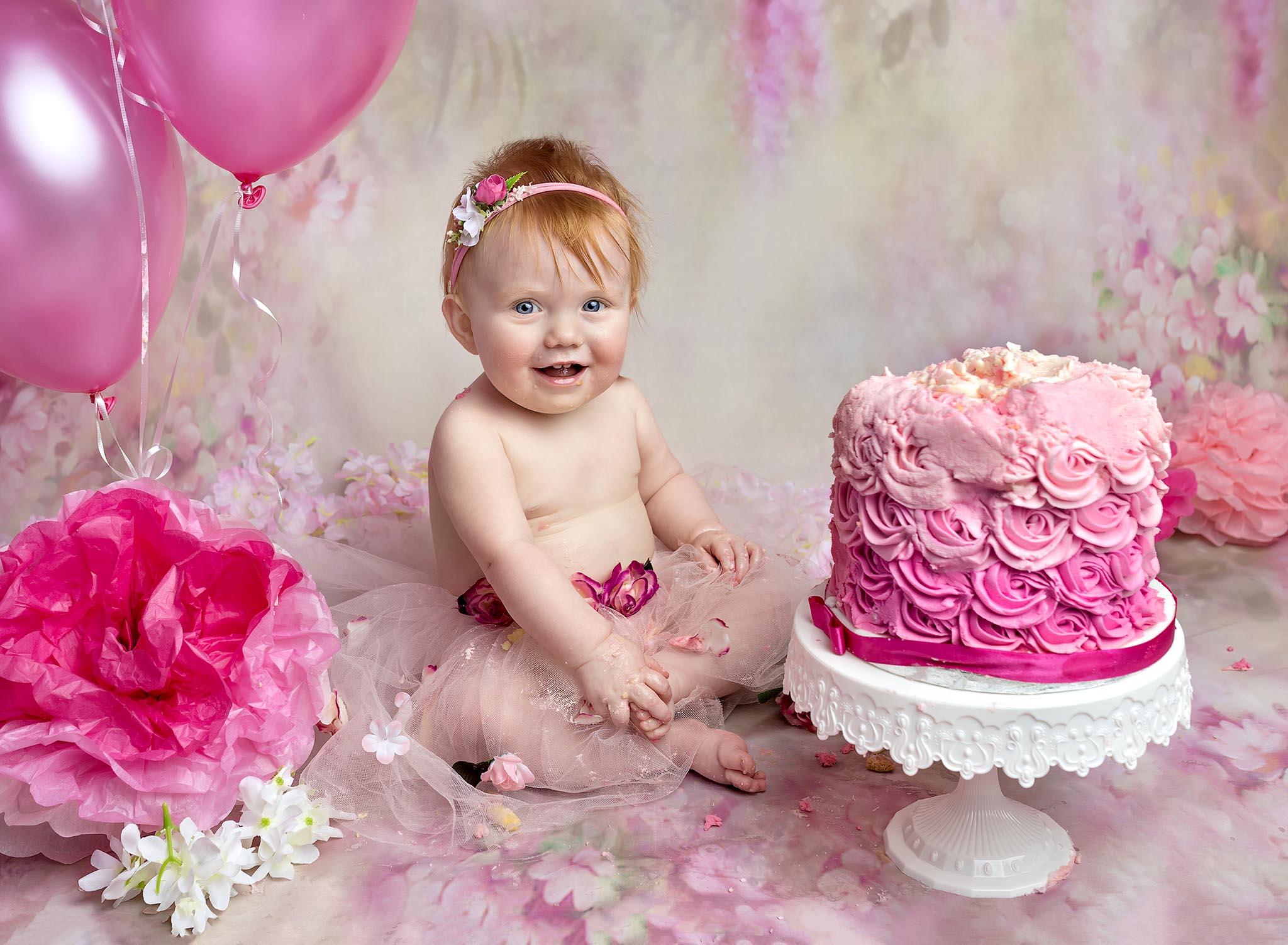 Pink 1st Birthday cake smash