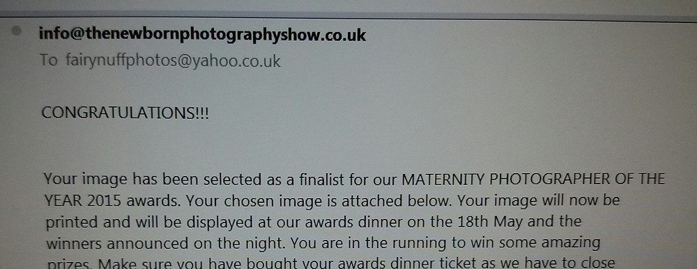 Fairy Nuff Photography is confirmed as a finalist for Maternity Photographer of the Year 2016