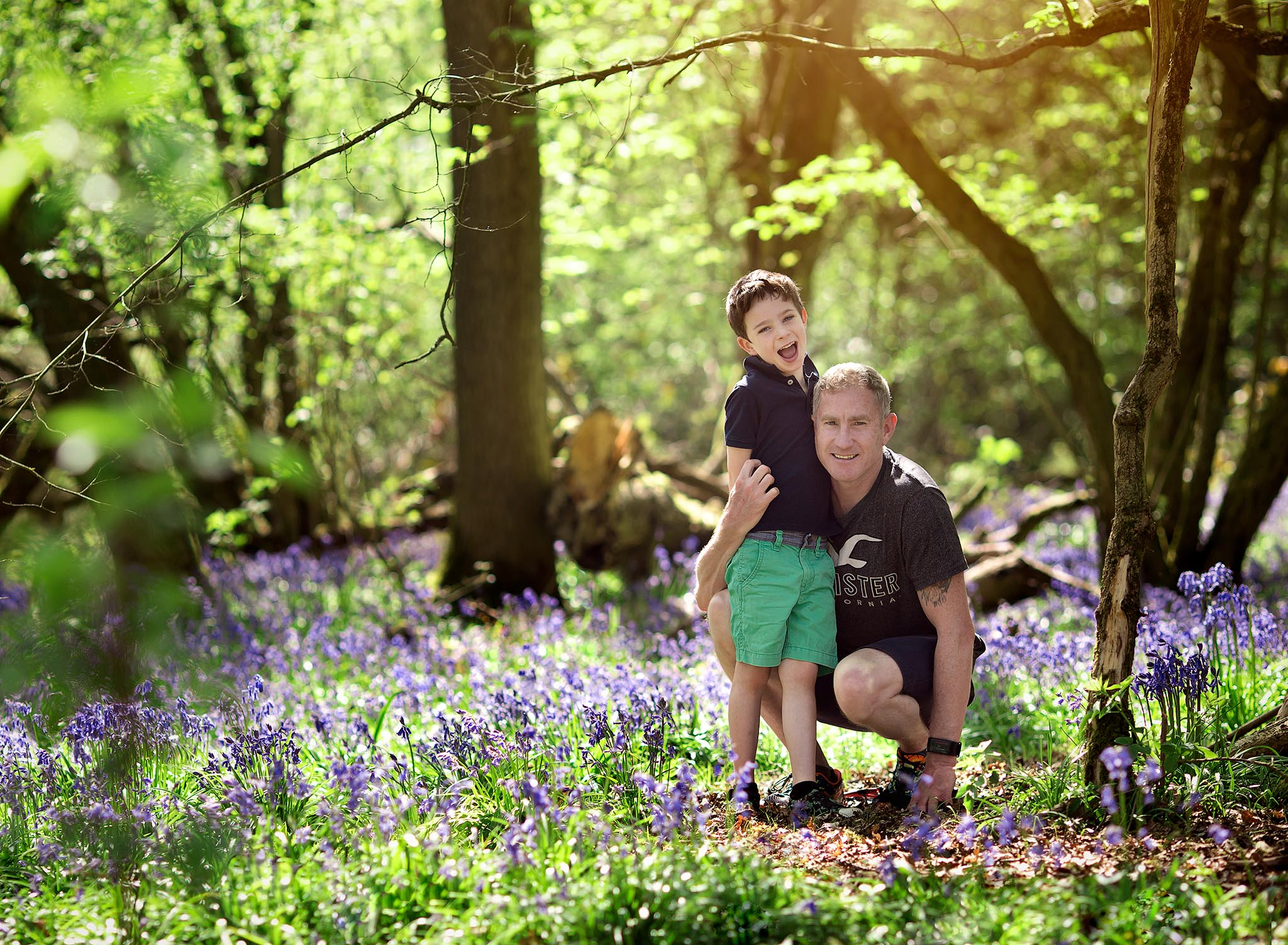 Outdoor bluebell photography session