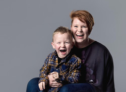 Mum and Son laughing close up