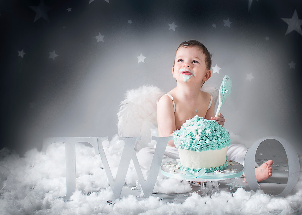 Angel Theme Cake Smash-Fairy Nuff Photography