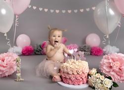 Pink and grey cake smash photoshoot
