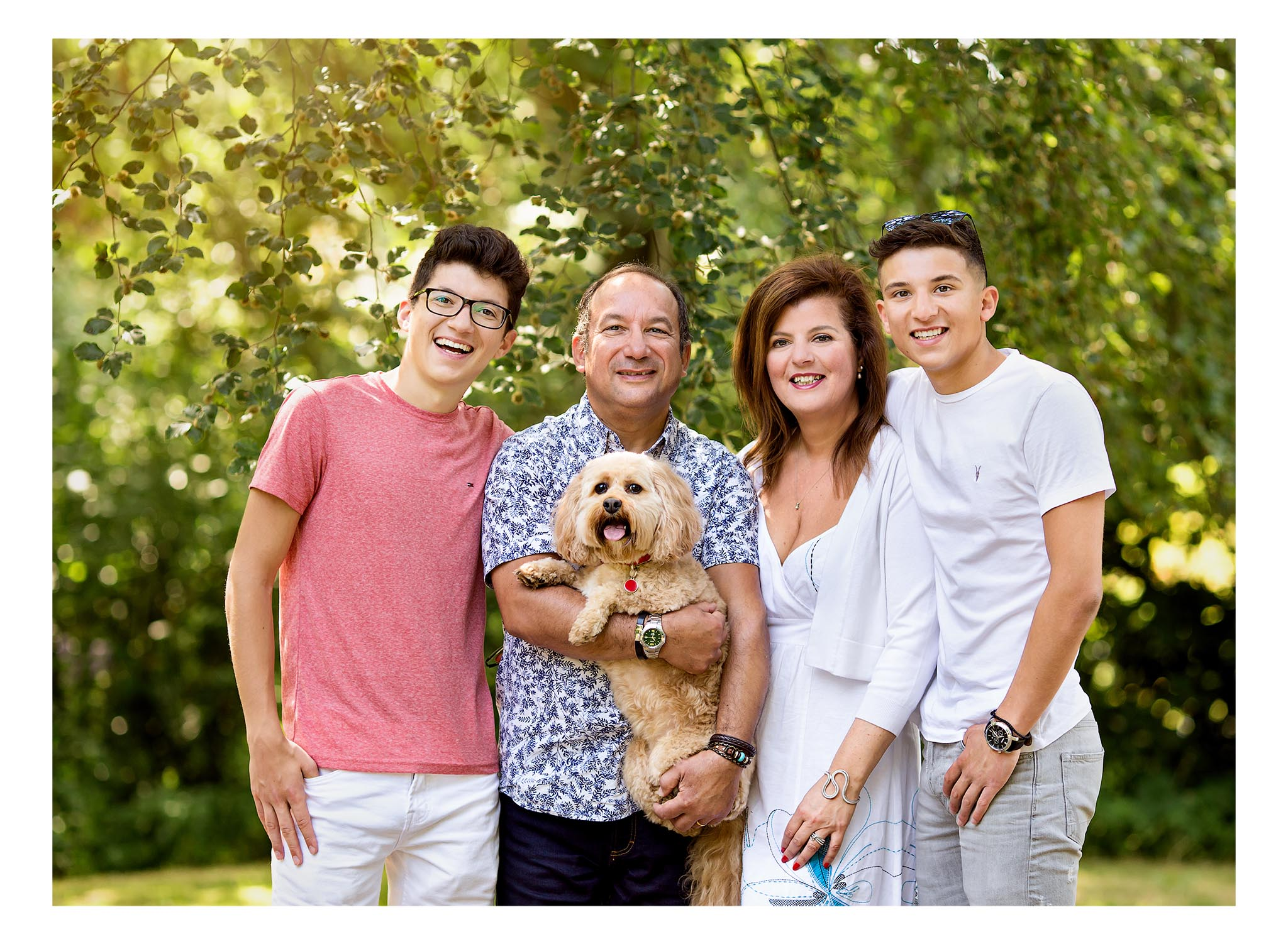 Family photography with dog