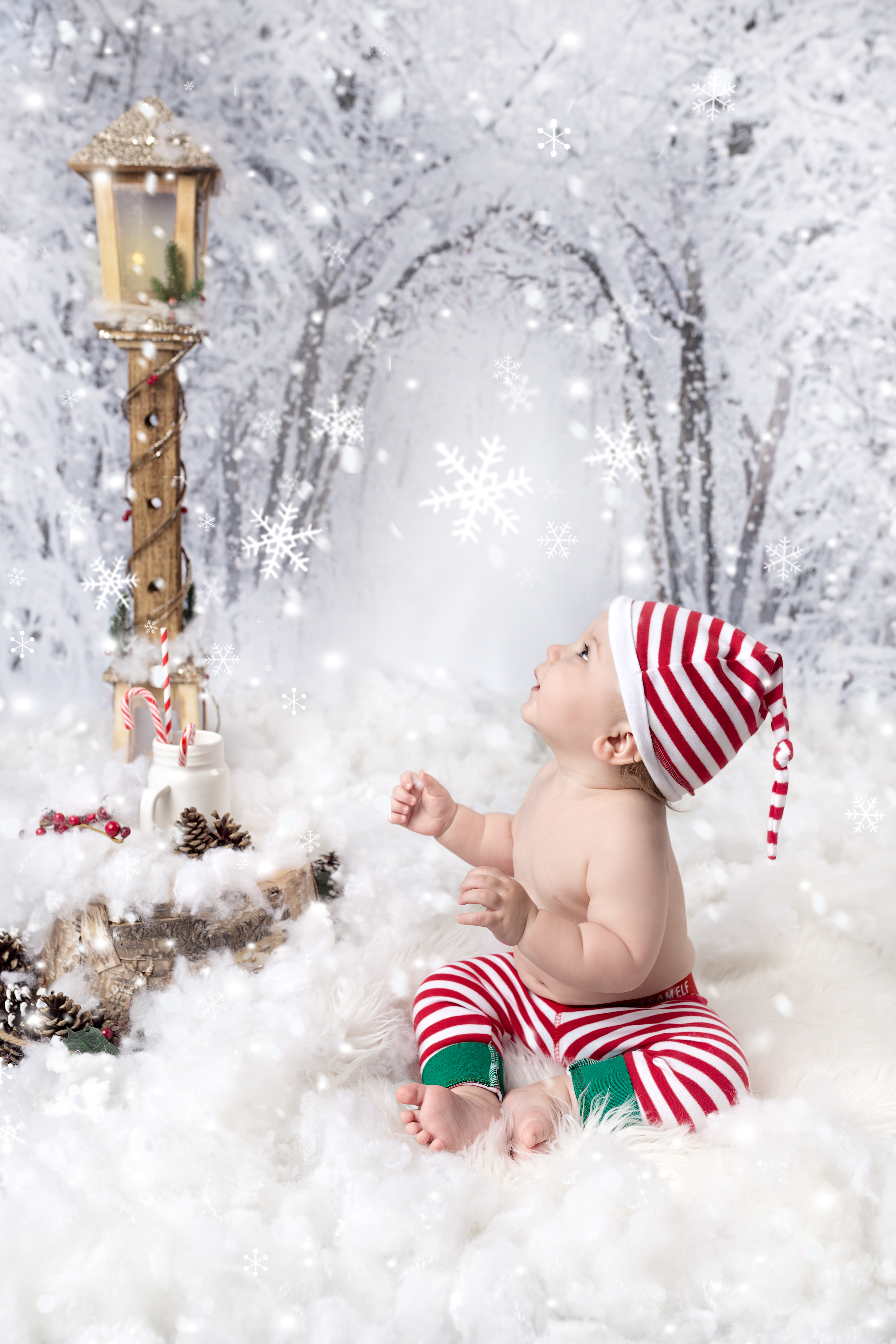 Snowy winter photography for a baby boy