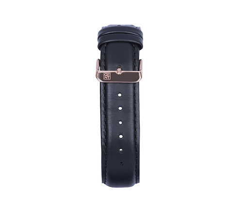 Black Genuine Leather Strap - Gold Buckle