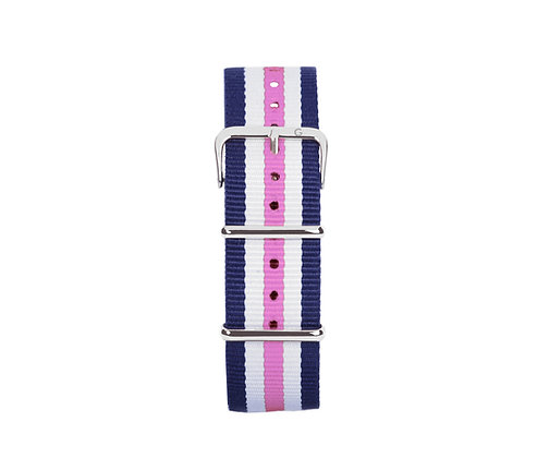 Pink, White and Blue Nylon Strap - Silver Buckle