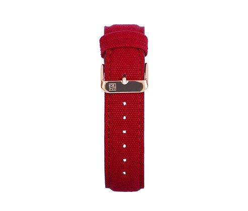 Red Canvas Strap - Gold Buckle