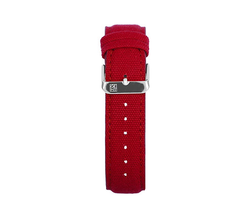 Red Canvas Strap - Silver Buckle