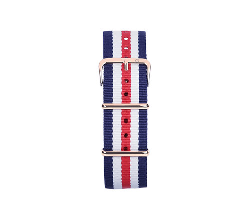 Red, White and Blue Nylon Strap - Gold Buckle