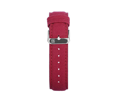 Burgundy Canvas Strap - Silver Buckle