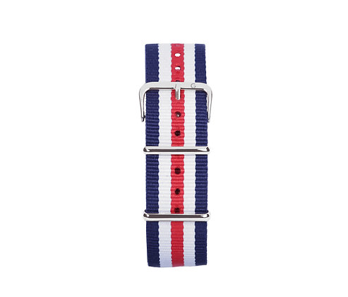 Red, White and Blue Nylon Strap - Silver Buckle