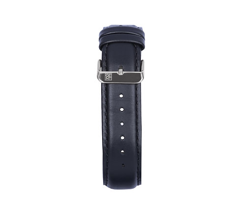 Black Genuine Leather Strap - Silver Buckle