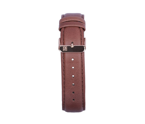 Brown Genuine Leather Strap - Gold Buckle