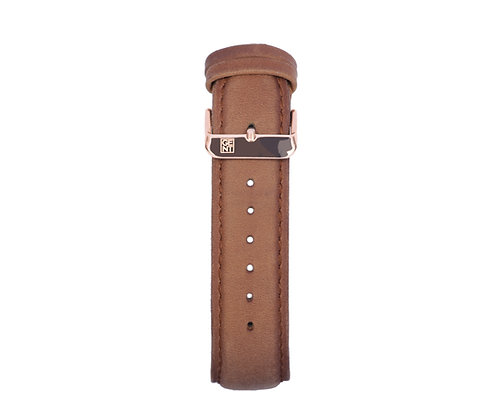 Brown Calf Leather Strap - Gold Buckle