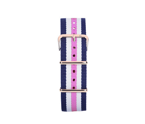 Pink, White and Blue Nylon Strap - Gold Buckle