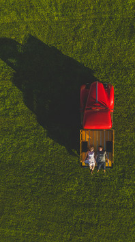 aerial of couple in sunset