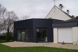 Extension bois toit plat spa