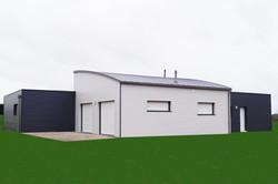 Maison bois moderne toit cintré