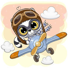 cute-raccoon-flying-plane-cartoon-126091