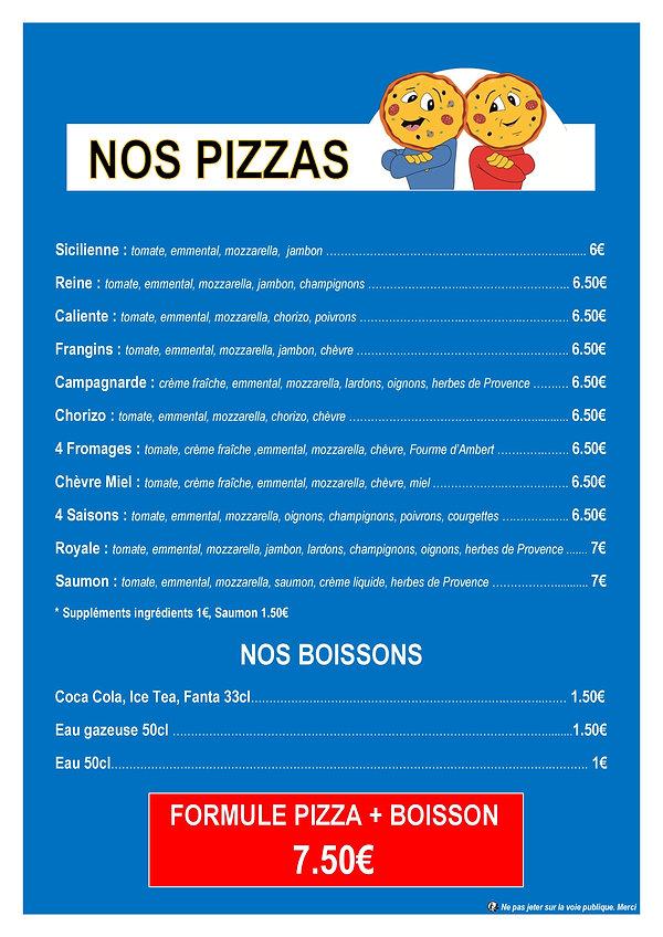PIZZA Les Frangins foodtruck menu du midi