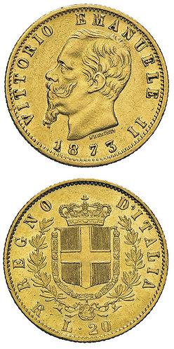 20 Lire 1873 Roma