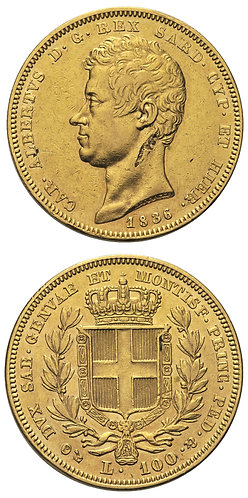 100 Lire 1836 Torino