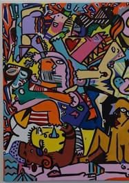Orgia -  100 x  100 cm -  Acrílico sobre tela.