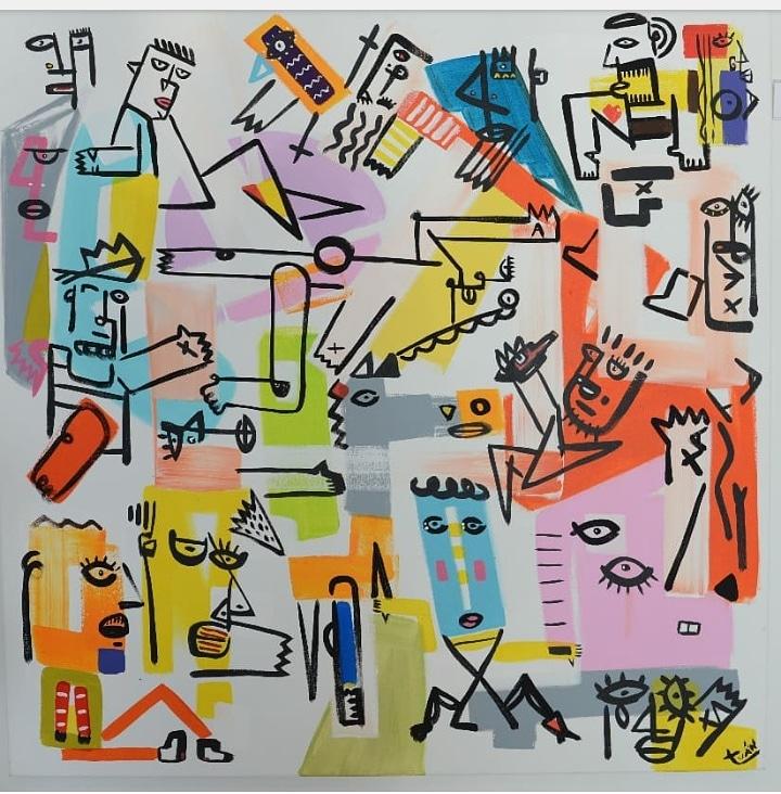 C.T. Gente 50 x 50 cm. Acrilico s tela